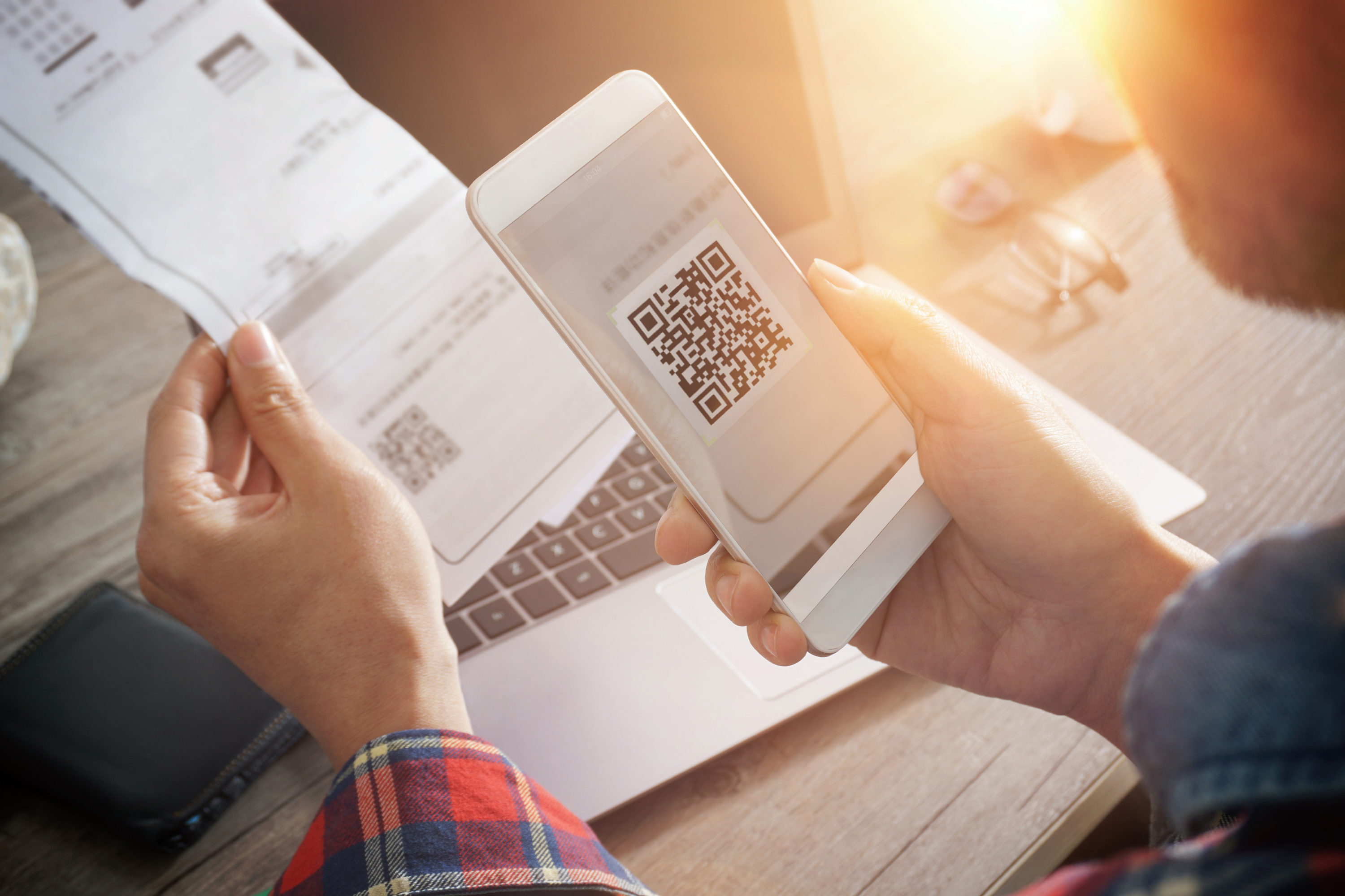 Viewing QR code on phone