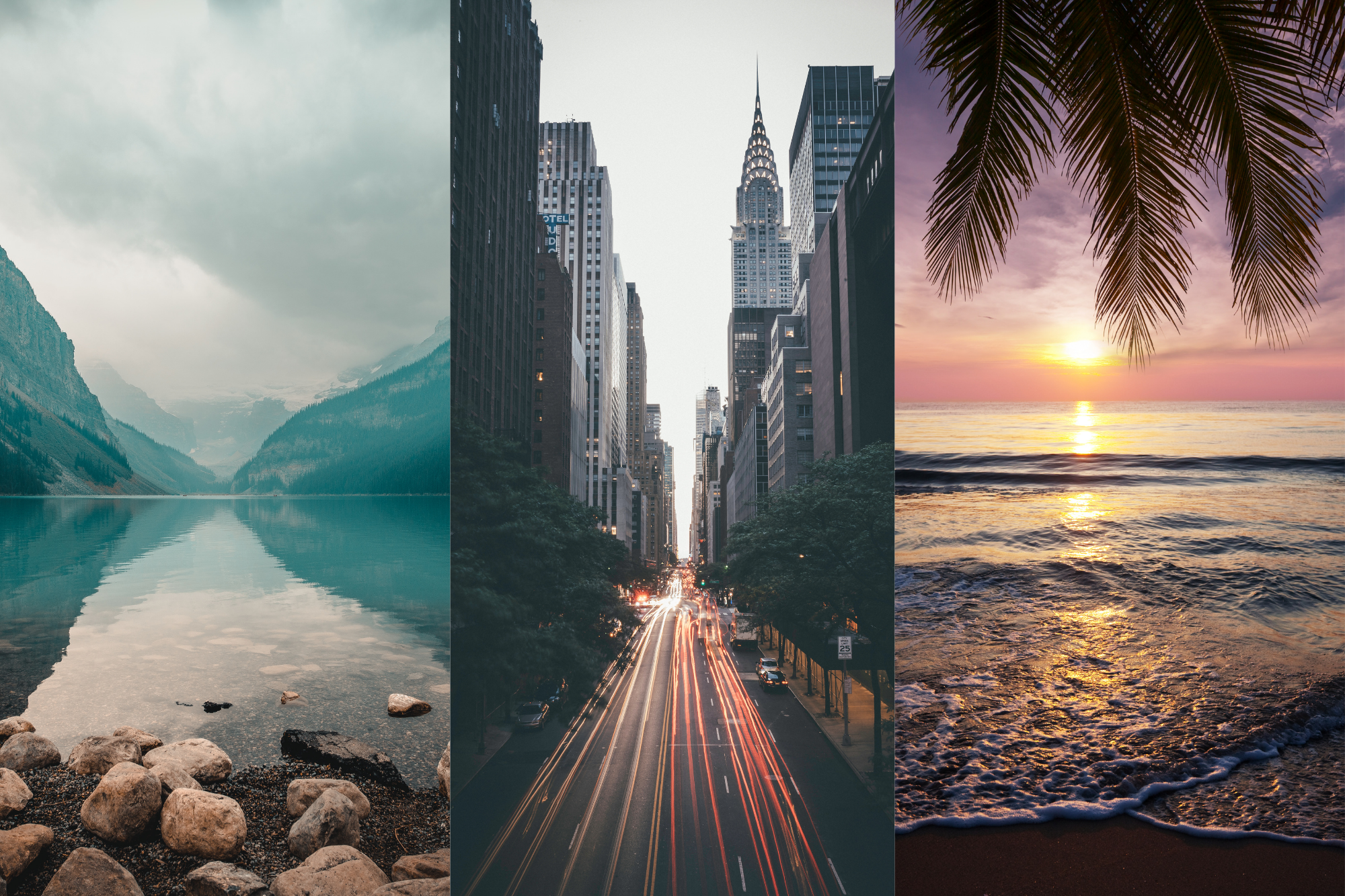 mountains, city, beach scenes
